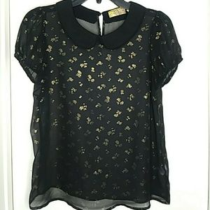 Vera Wang black and Gold floral Blouse